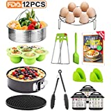 12-Pcs Accessories Set for Instant Pot-Fits 5,6,8Qt, Steamer Basket, Egg Rack, Springform Pan, Silicone Pot Holder, Egg Bites Mold, Magnetic Cheat etc.with Free recipe Ebook.Best Gift Idea By Tecvinci