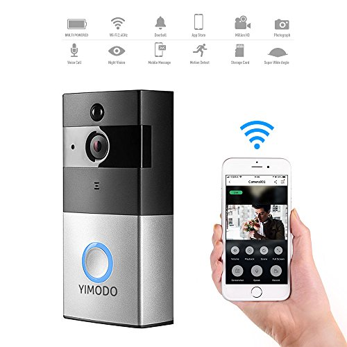 WiFi Video Doorbell, YIMODO 720P Wireless Smart Home Security Camera 8GB memory Storage Battery Powered Real Time Two Way Audio Motion Detection Night Vision and App Control For IOS and Android