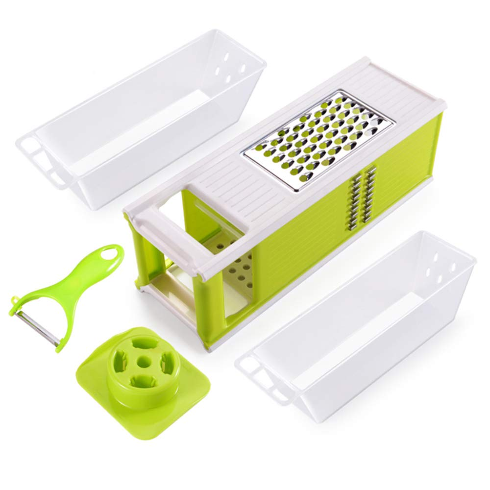 DENGSH Vegetable Slicer, Multi-Function Kitchen Cutter, Home Cutting Assistant, not Hurting Hands, Easy to Clean, Two Storage Boxes Convenience/Green / 30cm by DENGSH