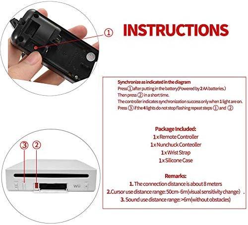 Mando a distancia NC Wii con Nunchaku Joystick, utilizado para Nintendo Wii y Wii U Consola, Gamepad con funda de silicona y correa de muñeca (1 juego), color negro 6