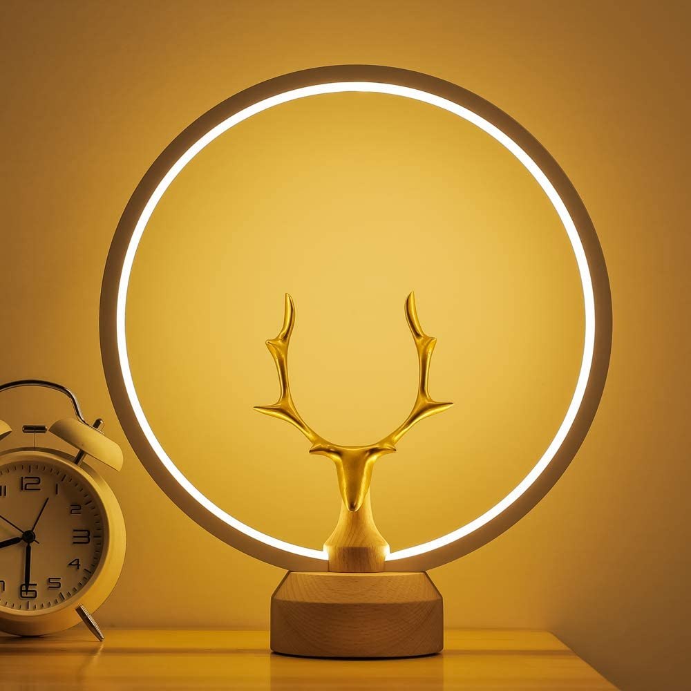 LED Wood Table Lamp, Bedroom Bedside Night Light, Dimmable Led Lighting, Creative Home Decor, Unique House warmging Gift