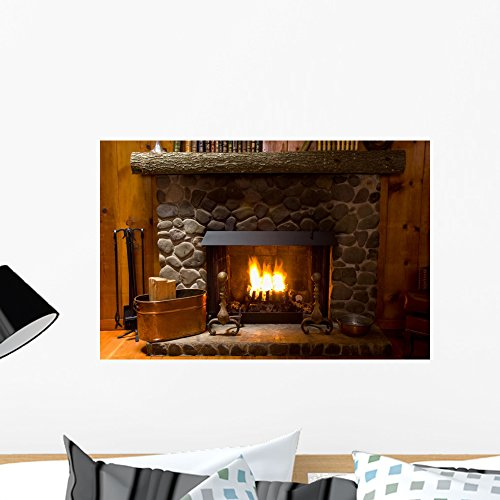 Log Wall Mirror (Close-up Stone Fireplace Log Wall Mural by Wallmonkeys Peel and Stick Graphic (24 in W x 16 in H) WM307781)