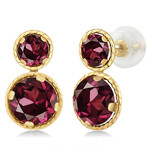 2.74 Ct Round Red Rhodolite Garnet 14K Yellow Gold Earrings (Gold Rhodolite Earrings)