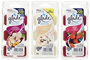 Glade Wax Melts Air Freshener Refill Value Pack, Includes 6 Radiant Berries, 6 Pure Vanilla Joy and 6 Vanilla Passionfruit, 18 refill value pack