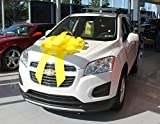 Eight24hours Big Car Bow Magnetic Back Vinyl No Scratch Large Gift Bow - Yellow