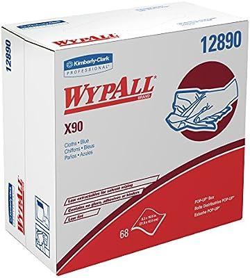 WypAll X90 uso prolongado toallitas limpiaparabrisas (12890), reutilizable Pop-up caja, azul denim, 5 cajas/caso, 68 hojas/caja, 340 hojas/caso