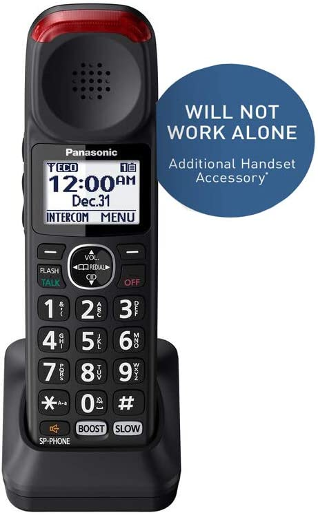Panasonic New DECT 6.0 Cordless Phone Handset Accessory Talking Caller ID Compatible with KX-TGM430B Series Cordless Phone Systems - KX-TGMA44B (Black)