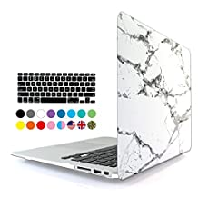 Eastchina 2 in 1 Ultra Slim Light Weight Soft-Touch Plastic Hard Shell Case Cover & Keyboard Cover for 13 Inches Apple Macbook Pro 13'', Model: A1278 (Macbook Pro 13'', White Marble)