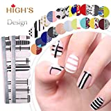 HIGH'S Exclusive Design Series Manicure Nail Polish Strips Nail Wraps, City in White and Black