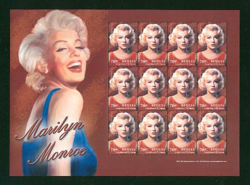 Marilyn Monroe Rare Collectible Postage Stamp Bequia 332