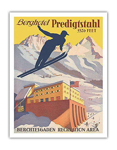 Berghotel Predigtstuhl - Ski Resort - Bad Reichenhall, Bavaria, Germany - Berchtesgaden Recreation Area - Vintage World Travel Poster c.1935 - Fine Art Print - 11in x 14in