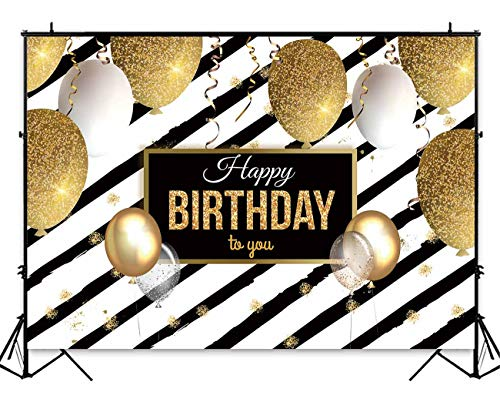 Funnytree 7x5ft Gold Happy Birthday Party Backdrop Black Stripes Shiny Glitter Adults Party Decorations Photography Background Golden Balloons Sparkle Glamour 30th 40th 50th 60th Photo Booth Banner