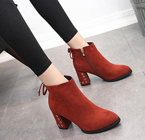 Die Brick Tip Stiefel Red 8Cm Satin des Martin Winter KHSKX Version und Hochhackige Damen Dicke Reißverschluss Stiefel Stiefel Kurze Gurt 39 Nieten Seitlicher New koreanische d4BqOWwI