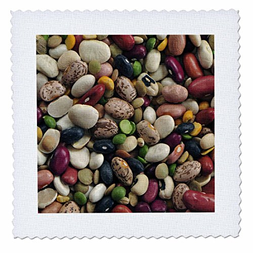 3dRose qs_71357_3 Colorful Dried Bean Soup Mixture, Cuisine AB01 BJA0015 Janyes Gallery Quilt Square, 8 by 8-Inch