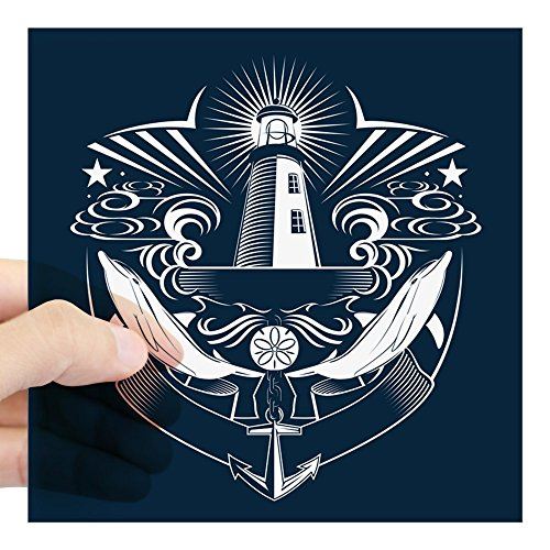 Square Sticker Clear 5 x 5 Inch Lighthouse Crest Anchor Dolphins ()