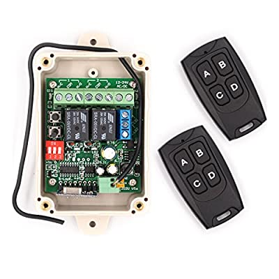 Solidremote 12V - 24V Secure Wireless RF Remote Control Relay Switch Universal 2-Channel 433MHz Receiver with 2 FCC ID Transmitters for Garage Door Openers, Cars, LED Lights & More (KIT-1)