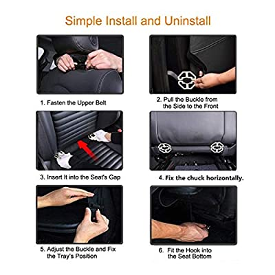 Car Backseat Organizer with Foldable Dining Table Holder Pocket Storage Kick Mats, Durable Quality Seat Covers,Luxury PU Leather Car Seat Back Organizer,Travel Accessories Organizer(Black 2-pack): Automotive