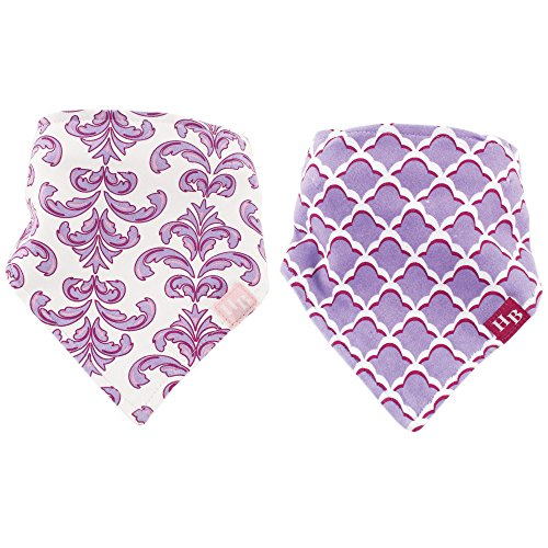 Hudson Baby Unisex Baby Cotton Bandana Bibs, Purple Brocade 2 Pack, One Size