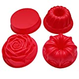 BAKER DEPOT Silicone Bakeware Big Cake Mold With 4 Differet Designs Rose Round Shape Flower Crown Design Pastry Mold Cake Decorating Tools, Set of 4 Red Color
