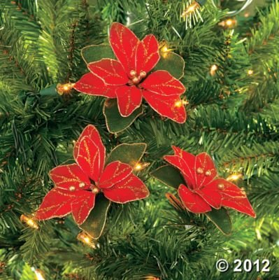 Christmas Tree Decorations - (Pack of 12) Red Glitter Poinsettia Christmas Tree Ornaments