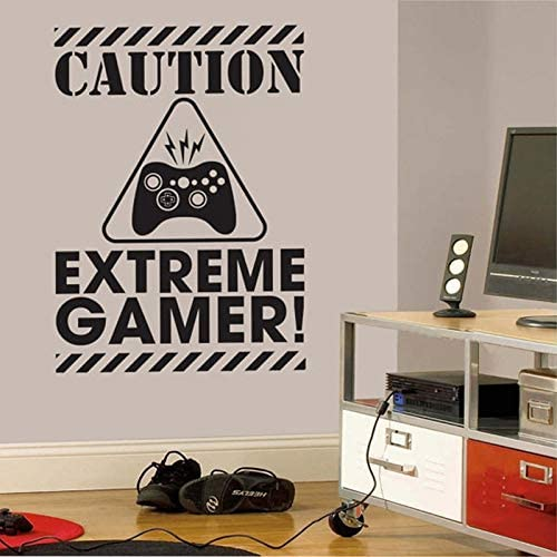WWYJN Gamer Wall Decal Sticker - Video Gamer Birthday Gift Vinyl Wall Sticker For Kids Room/Boys Bedroom Decor Gray 79cmx56cm: Amazon.es: Hogar