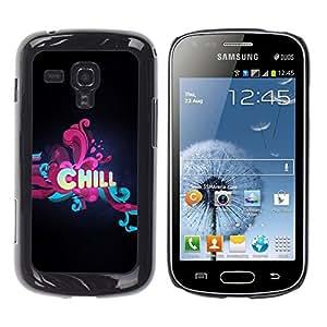 TopCaseStore / la caja del caucho duro de la cubierta de protección de la piel - Chill Floral Typography - Samsung Galaxy S Duos S7562