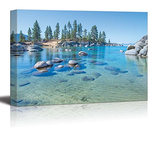 wall26 - Canvas Prints Wall Art - Beautiful Blue Clear Water on The Shore of The Lake Tahoe | Modern Wall Decor/Home Decoration Stretched Gallery Canvas Wrap Giclee Print. Ready to Hang - 24