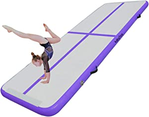 kxbyToy Air Tumble Mats,10ft/13ft/16ft/20ft Inflatable Gymnastics Air Mat for Gymnastics Training/Home Use/Cheerleading/Yoga/Water