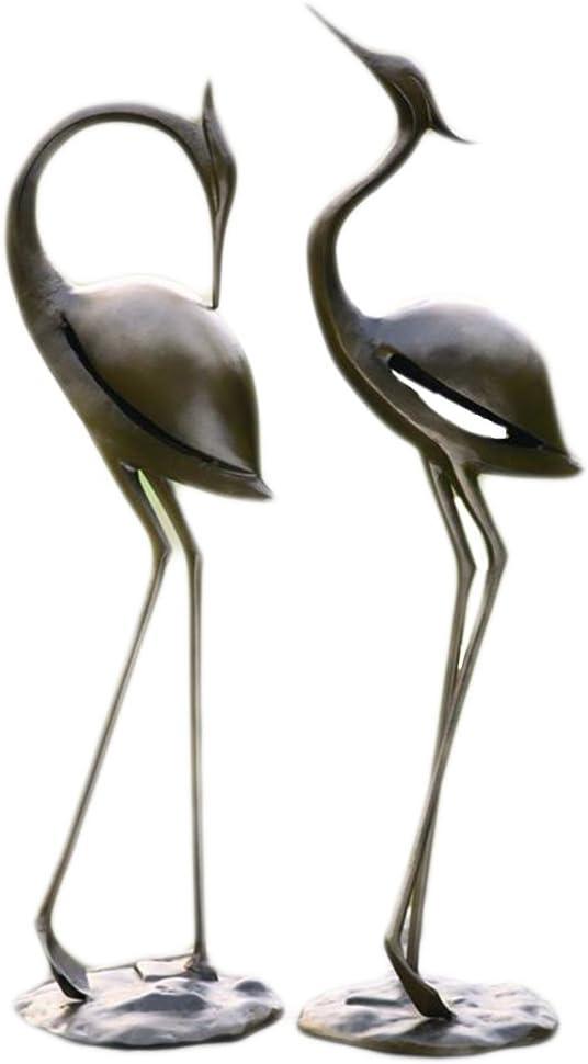 Cast Iron Freestanding Garden Ornament Sculpture Of A Heron