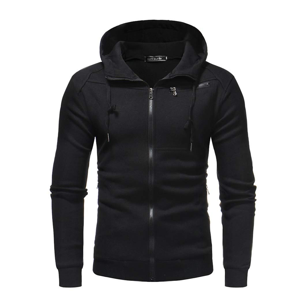 Mfasica Mens Pure Color Full-Zip with Hood Pockets Pullover Top Sweatshirt