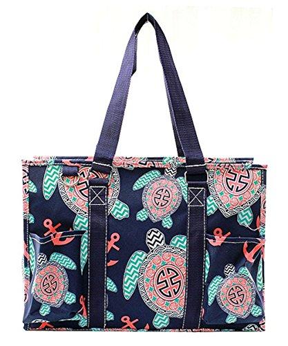 (N Gil All Purpose Organizer Medium Utility Tote Bag (Sea Turtle Navy Blue))