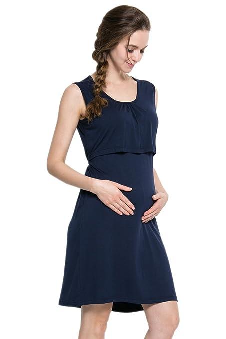 BOZEVON Mujeres Verano Ropa de Lactancia Vestidos Maternidad Embarazadas Madres Prenatales y Postnatales Color Sólido Sin Mangas Casual Vestido Largo: ...