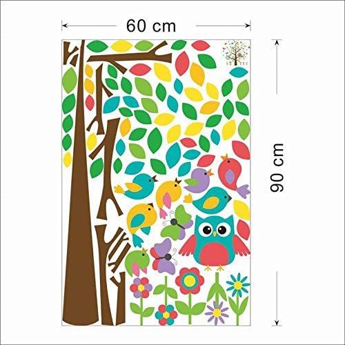 Sticker mural,hiboux mignons oiseaux arbre stickers muraux enfants salle de jeux d/écoration chambre de b/éb/é dessin anim/é enfants b/éb/é stickers muraux animal mural art
