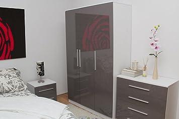 Edge Smoked Grey High Gloss 3 Piece Large Bedroom Set 3 Door