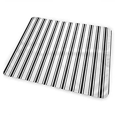 Mattress Ticking Narrow Striped Pattern in Dark Black and White Bed Pad Washable Waterproof Urine Pads for Baby Toddler Children and Adults 31.5 X 25.5 inch