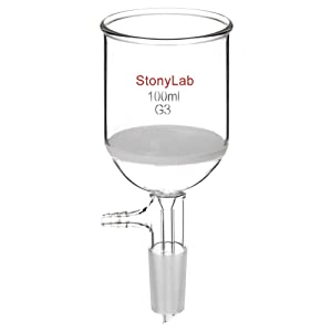 StonyLab Borosilicate Glass Buchner Filtering Funnel with Fine Frit (G3), 56mm Inner-Diameter, 60mm Depth, with 24/40 Standard Taper Inner Joint and Vacuum Serrated Tubulation (100ml)