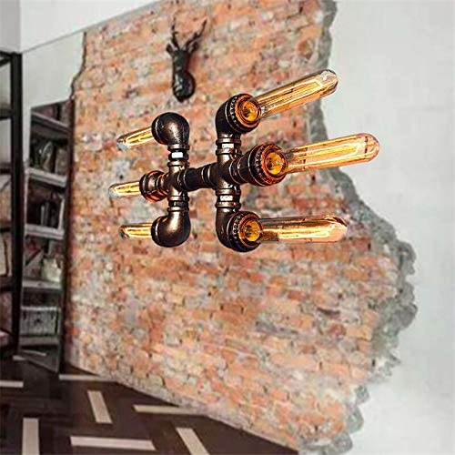 Creative 6 Heads Water Pipe E27 Wall Lamp Retro Industral Wind Iron Dual-Use Wall Light for Warehouse Restaurant Cafe A Black Black