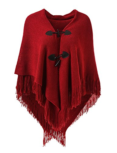 Ferand Women's Loose Fitting Poncho Cape Shawl with Stylish Horn Buttons, V Neckline and V Hem, Red -
