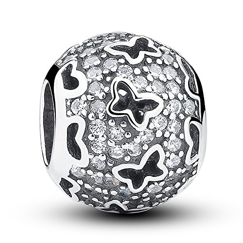 Everbling Spring Butterfly Garden 925 Sterling Silver Bead for European Charm Bracelet (Fluttering Butterflies with Clear CZ)