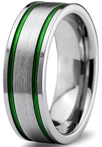 Flat Pipe - Tungsten Wedding Band Ring 8mm for Men Women Green Grey Flat Pipe Cut Brushed Polished Size 7