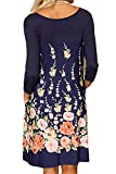 Minipeach Womens Floral Print Crew Neck Long Sleeve T-Shirt Dresses with Pockets