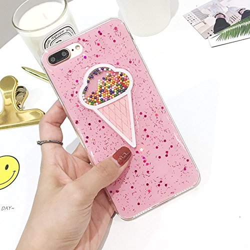 iPhone 8/iPhone 7 Case(4.7inch),Blingy's Shiny Bling Bling Glitter Ice Cream Style with Sprinkles Rubber TPU Protective Case for iPhone 8/iPhone 7 (Pink Ice Cream)