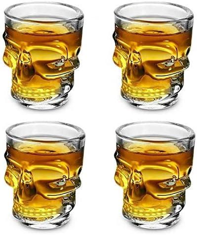 offershop Conjunto Set 4 Vasos Tazas de Cristal con Calavera Cráneo Cuatro Piezas para Whisky Vodka Espíritu Ron Cerveza Vino Cocktail Cóctel Bebidas ...