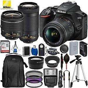 "Nikon D3500 DSLR Camera with 18-55mm Lens, Nikon AF-P 70-300mm Lens and 17PC Accessory Bundle – Includes SanDisk Ultra 32GB SDHC Memory Card + Digital Slave Flash + 50"" Tripod + More"