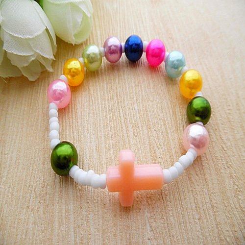- Catholic holy rosary bracelet children bracelet acrylic pearl round 8