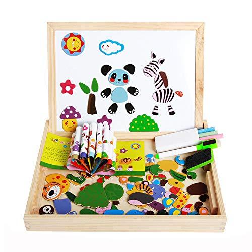 ITODA 木製マグネット イーゼル 教育パズル 学習ゲーム 自立式 冷蔵庫 幼稚園 おもちゃ 動物 両面チョークボード ホワイトボードセット YIZHI-WANJU-000006-GYUS
