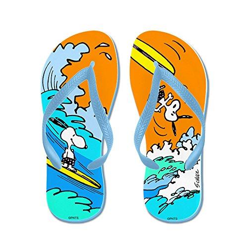 Cafepress Surft Op! - Slippers, Grappige Leren Sandalen, Strand Sandalen, Caribbean Blue