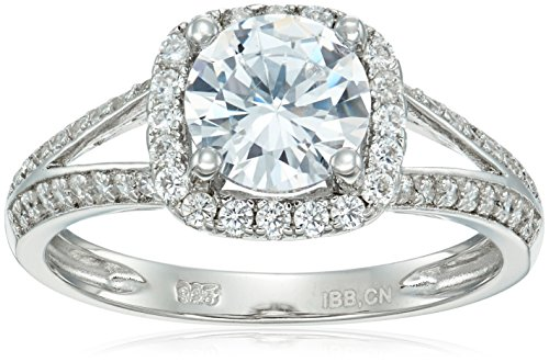 Silver Double Cushion (925 Platinum-Plated Sterling Silver Cushion Cut AAA Cubic Zirconia Double Band Ring, Size 7 (.4 cttw))