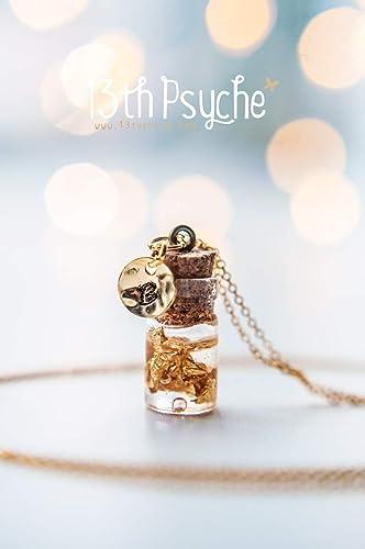 collar de botella de vidrio con pan de oro, joyería estampada a mano, collar