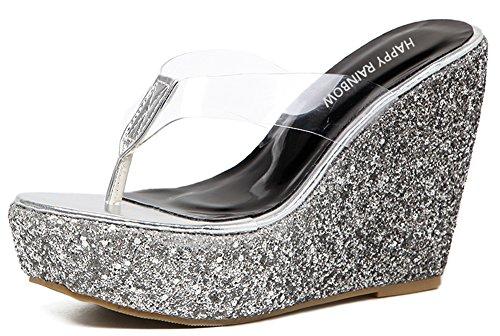 IDIFU Women's Stylish Platform Sequined High Heels Wedge Thong Flip Flops Sandals (Black, 5 B(M) US)